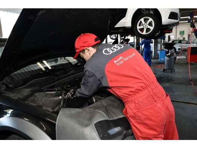 購入後のアフターサービスも安心、あなたのカーライフをAudiがバックアップします。車検も受けられる認定工場を併設。