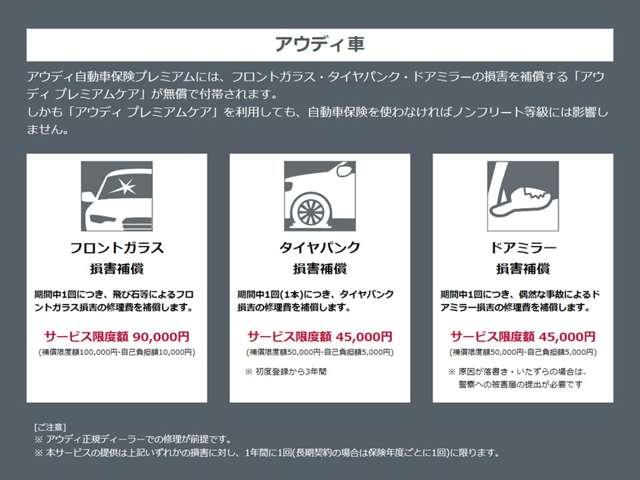更にAudi以外(自家用普通乗用車・自家用小型乗用車・自家用軽四輪乗用車)の自動車保険に加入された方にもタイヤパンク無償補償!